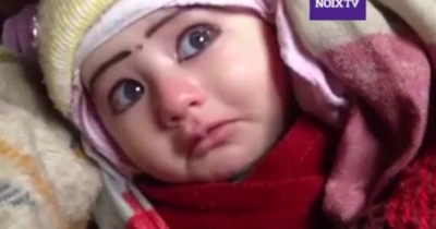 Cute baby crying and laughing