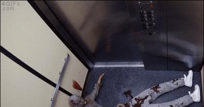 Zombie Elevator Amputee Prank